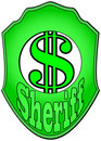 Free Sheriff Badge With Green Dollar Sign Royalty Free Stock Photo - 8826515