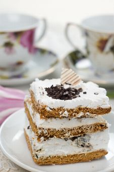 Cake And Cups Of Tea Stock Photo