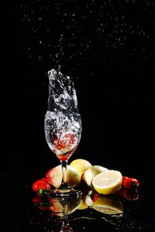 Free Fruit Falling Into Water Stock Images - 8821174