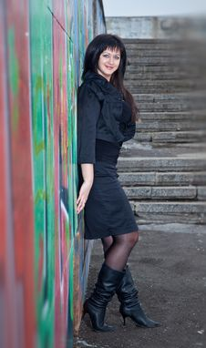 Free Brunette Against The Wall Stock Image - 8821861