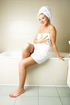 Beautiful Woman In The Bathroom Royalty Free Stock Image