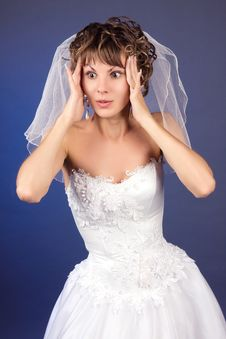 Free Studio Portrait Of The Surprised Young Bride Royalty Free Stock Photo - 8822245