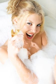 Free Happy Girl Taking A Bath Stock Images - 8822284
