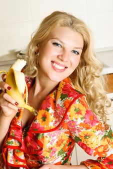 Free Pretty Girl Eating A Banana Stock Image - 8822601