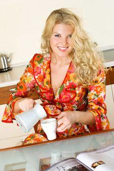Free Pretty Girl Drinking Coffee Stock Photos - 8822613
