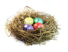 Free Nest With Colour Eggs Stock Images - 8822934