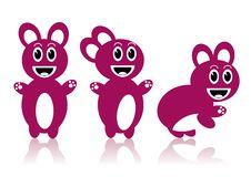 Three Pink Rabbits Royalty Free Stock Photo