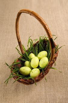 Basket With Easter Eggs And Grass Royalty Free Stock Images