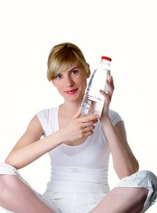 The Girl With Bottle Stock Image