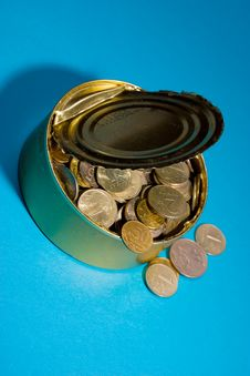Free Tin With Coins Stock Image - 8826071