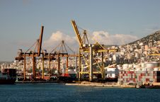 A Ships In The Port Of Pireaus Stock Photography