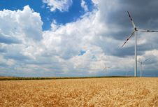 Free Wind Turbines In A Field Stock Image - 8827231