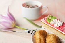 Tasty Pastry With The Coffee Royalty Free Stock Images