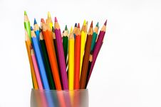 Colored Pencils In Glass Royalty Free Stock Photos
