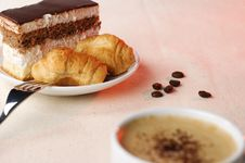 Free Cup Of Coffee With Dessert Stock Photography - 8828822