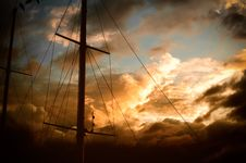 Free Ships Mast And Sunset Stock Images - 88264024