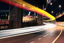 Free Blur Of Headlights On Bridge Royalty Free Stock Image - 88264976