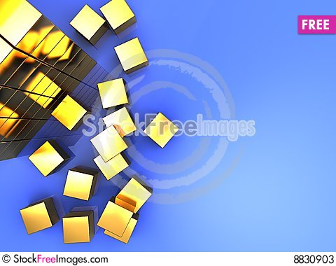 Golden cube Cartoon Illustration