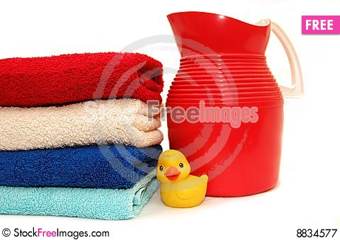 The combined colour towels with toy Stock Photo