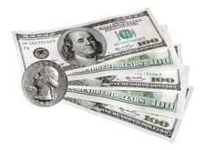 100 Dollars & Quarter Dollar Stock Photography