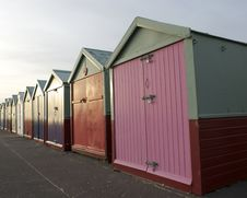 Free Colored Wooden Beach Huts Stock Photos - 8830193