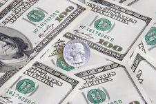 100 Dollars & Quarter Dollar Stock Images