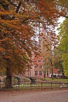 Belgium Autumn In Brugge Church  Bridge