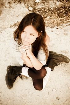 Free Young Begging Woman Stock Photography - 8832462