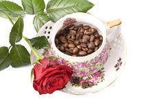 Free Cup With Coffee, Costing On Coffee Grain Stock Photos - 8835603