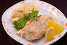 Free Fried Fish And Hummus With Lemon Royalty Free Stock Photos - 8836618