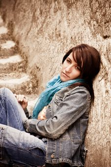 Free Young Woman On Stone Stairs Royalty Free Stock Images - 8837559
