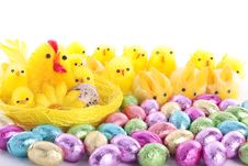 Free Easter Chicks And Bunnies Background Stock Images - 8838034