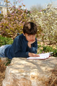 Free Boy Reading Royalty Free Stock Photos - 8838358