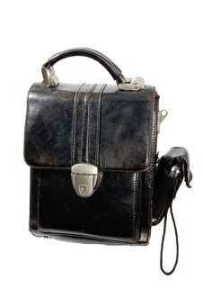 Old Men Leather Handbag With Mobile Phone Royalty Free Stock Photography