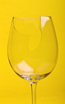 Free Close-up Broken Glass Isolated On Yellow Stock Photography - 8839462