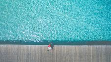 Free Aerial Shot Photography Of Woman Sitting Beside Pool Royalty Free Stock Photo - 88327945