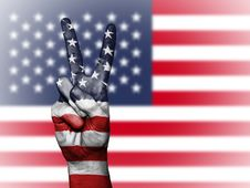 Free V Sign And American Flag Royalty Free Stock Photography - 88328347