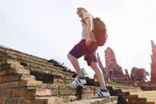 Free Man Hiking Ancient Ruins Stock Photo - 88328840