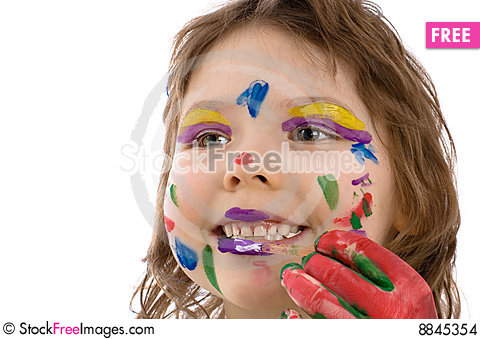 Fanny girl with painted hands Stock Photo