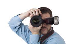 Free Man Shooting Portrait With Digital Camera Stock Photos - 8840833