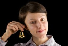 Free Young Woman With A Handbell On Black Royalty Free Stock Photo - 8841235