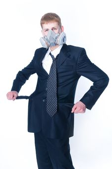 Crazy Businessman With Empty Pockets Stock Photography