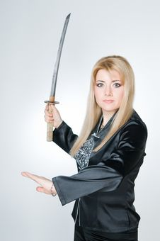 Free Portrait Of Woman With Sword Royalty Free Stock Photo - 8843055