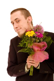 Man With Flowers Royalty Free Stock Photo