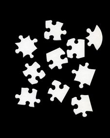 Free White Puzzle Pieces Over Black Stock Image - 8844551