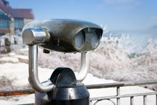 Iced Old-fashioned Tourist Binoculars Royalty Free Stock Image