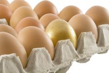 Free One Golden And Many Ordinary Fresh Rural Eggs Royalty Free Stock Photos - 8847378