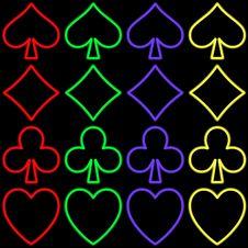 Free Poker Simbols Neon Style Royalty Free Stock Images - 8847449
