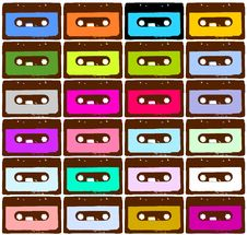 Colored Cassettes Stock Photo