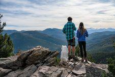 Free Couple With Dog On Mountain Stock Image - 88491151